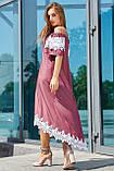 Элегантный и модный сарафан свободного кроя цвета марсала 3533, фото 4