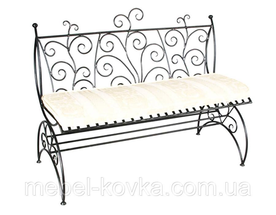 Кованый диван  с фигурной спинкой 10(с мягким сидением)