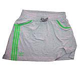 Костюм летний трикотажный. Футболка и юбка. Серый\зеленый, фото 2