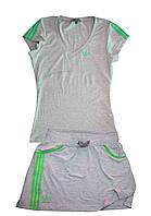 Костюм летний трикотажный. Футболка и юбка. Серый\зеленый