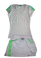 Костюм летний трикотажный. Футболка и юбка. Серый\зеленый, фото 1
