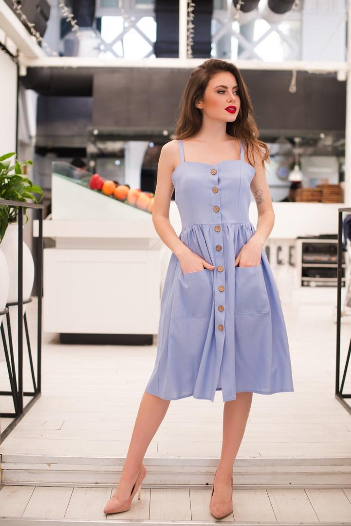 Летнее льняное платье р-ры от 42 до 48 на пуговицах с карманами / 4 цвета  арт 9176-87