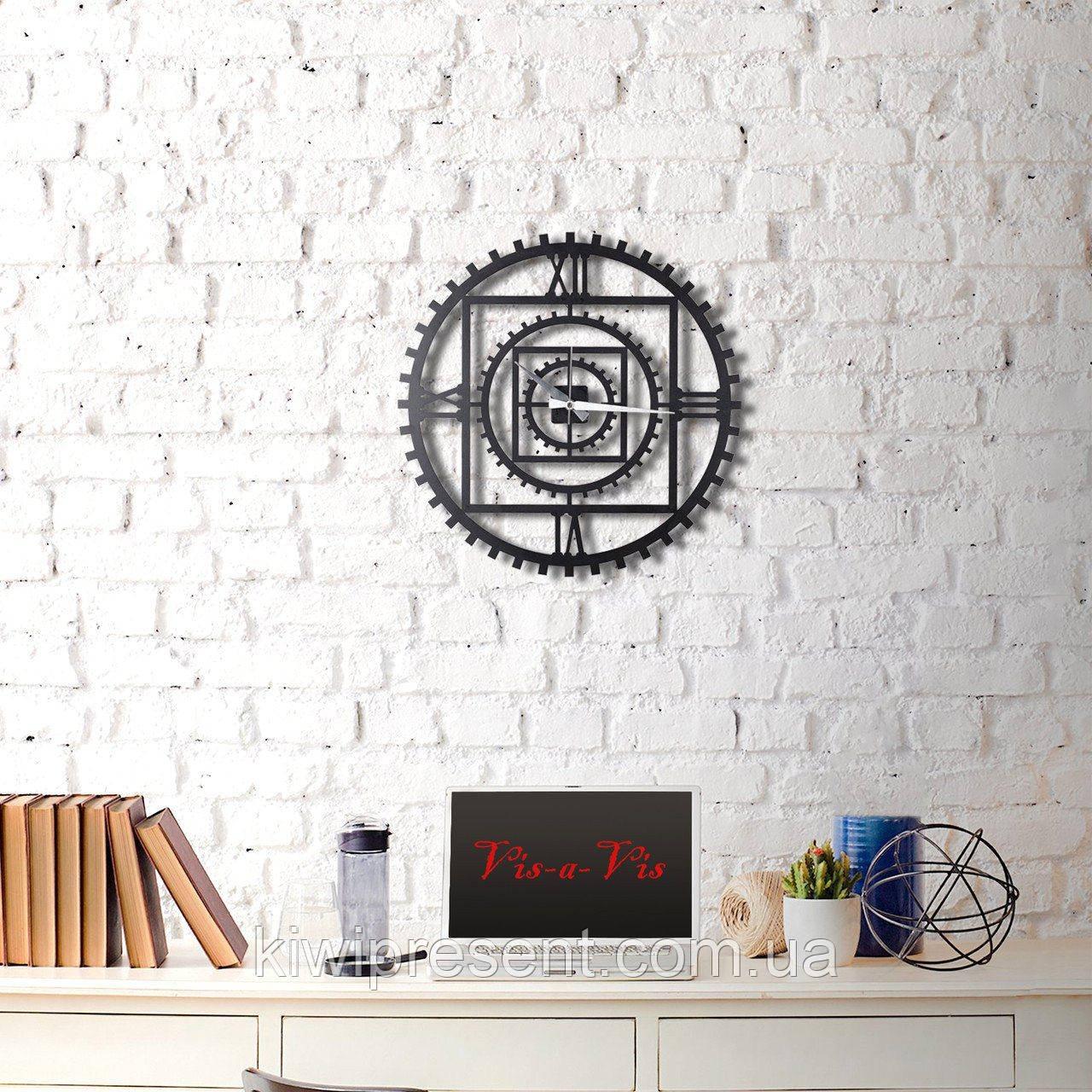 """Настенные часы большие """"Время и Металл"""" (60 см) в стиле Лофт."""