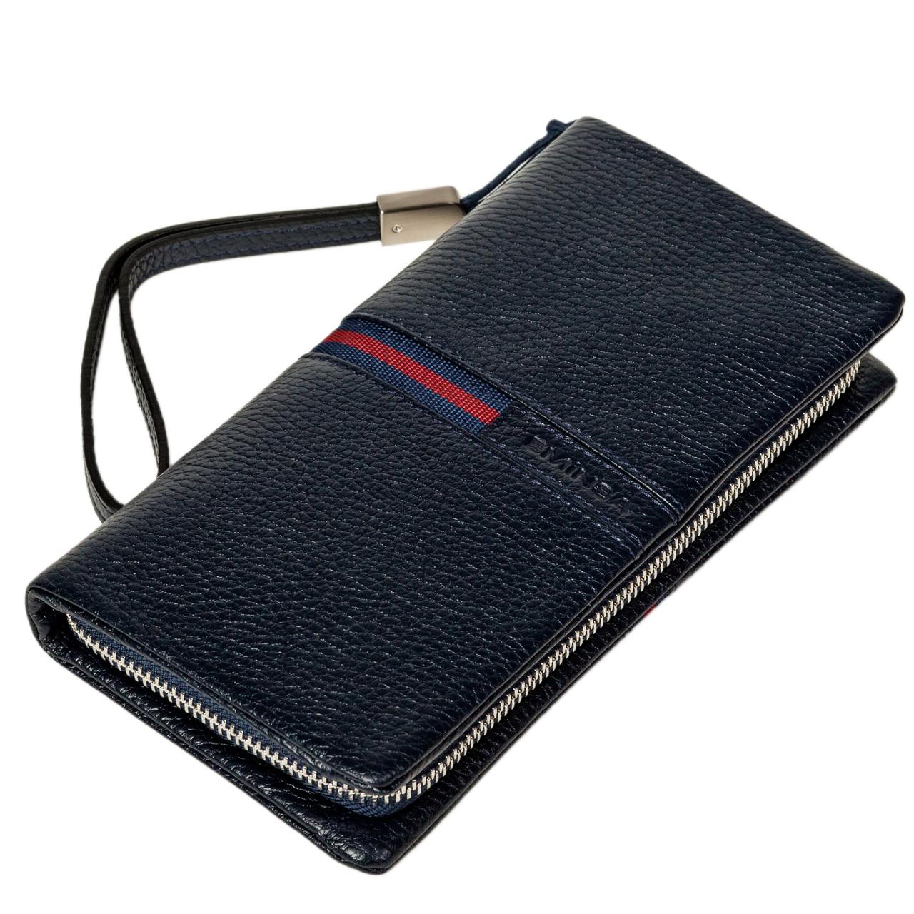 Мужской кошелек клатч Eminsa 5113-37-19 кожаный темно синий