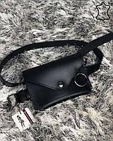 Кожаная женская сумка на пояс Moris черного цвета, фото 1