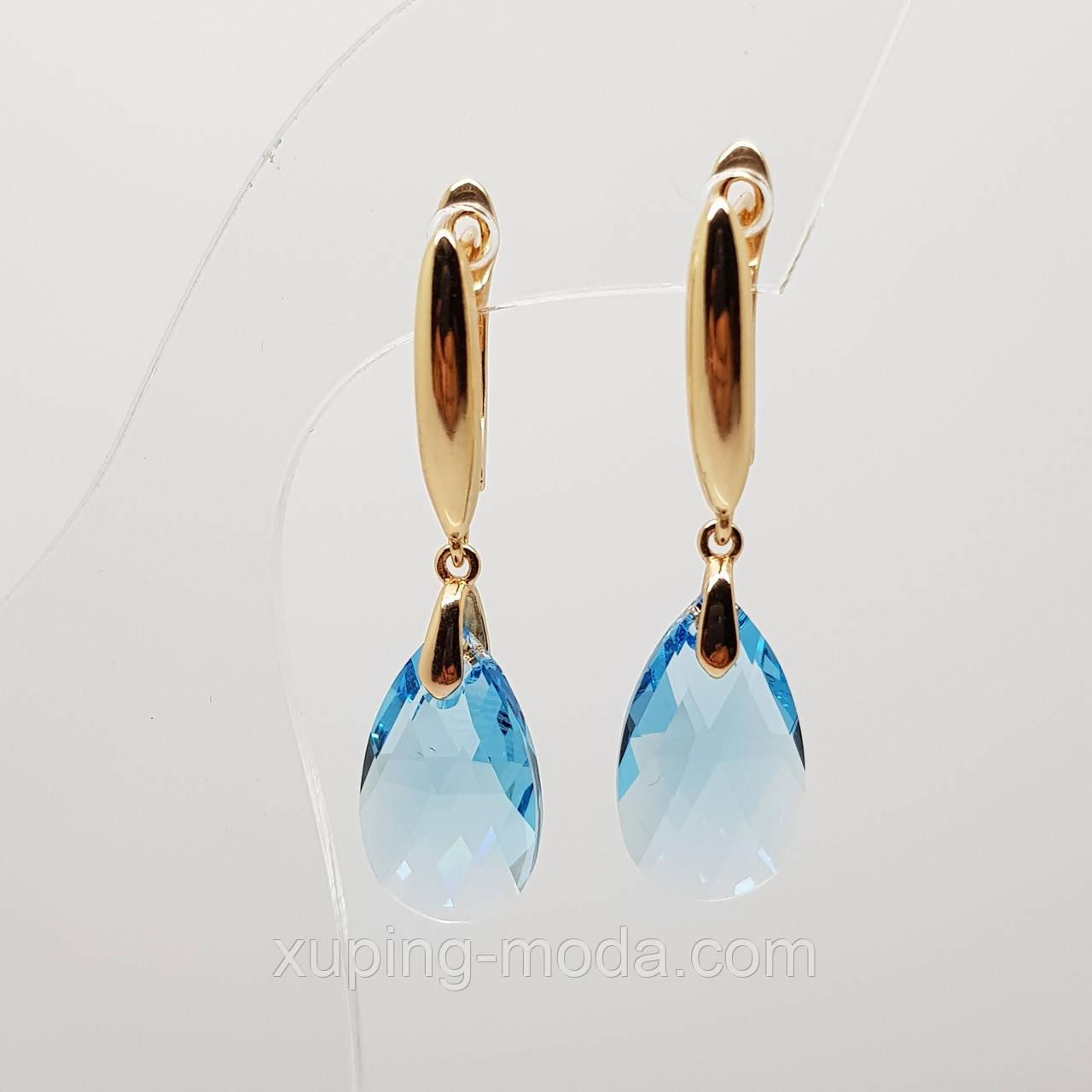 Серьги xuping c кристаллами swarowski, позолота 18к