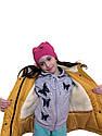 """Модна дитяча зимова парку """"Тедді"""" для дівчаток гірчичного кольору, фото 5"""