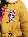 """Модна дитяча зимова парку """"Тедді"""" для дівчаток гірчичного кольору, фото 2"""