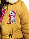 """Модная детская зимняя парка """"Тедди"""" для девочек горчичного цвета, фото 2"""