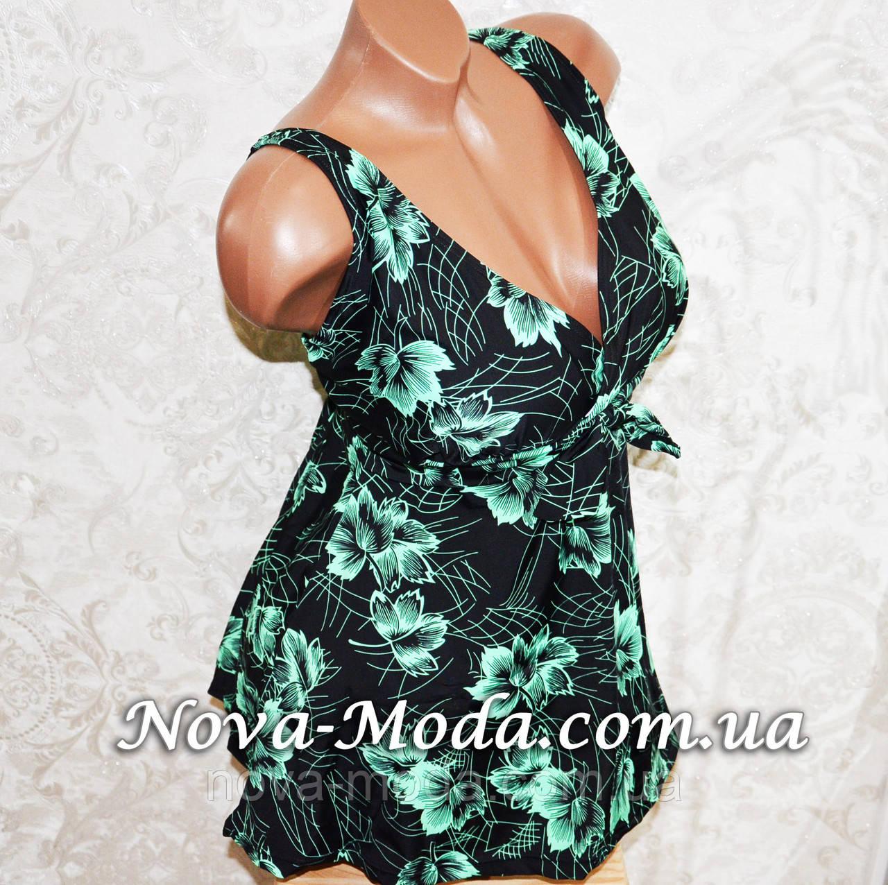 b22ebcaa99b4d 64 размер! Черный батальный купальник-платье танкини, для больших форм, с  зелеными