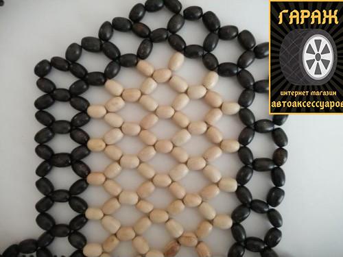 Деревянная накидка на сидение белые с орнаментом,воск,крупное плетенье (2шт)