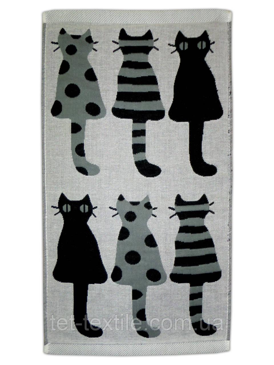 """Полотенце льняное для кухни с рисунком """"Коты"""" 25х45см."""