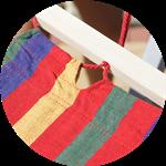 Гамак тканевый с деревянными перекладинами Цветной  XL, фото 6