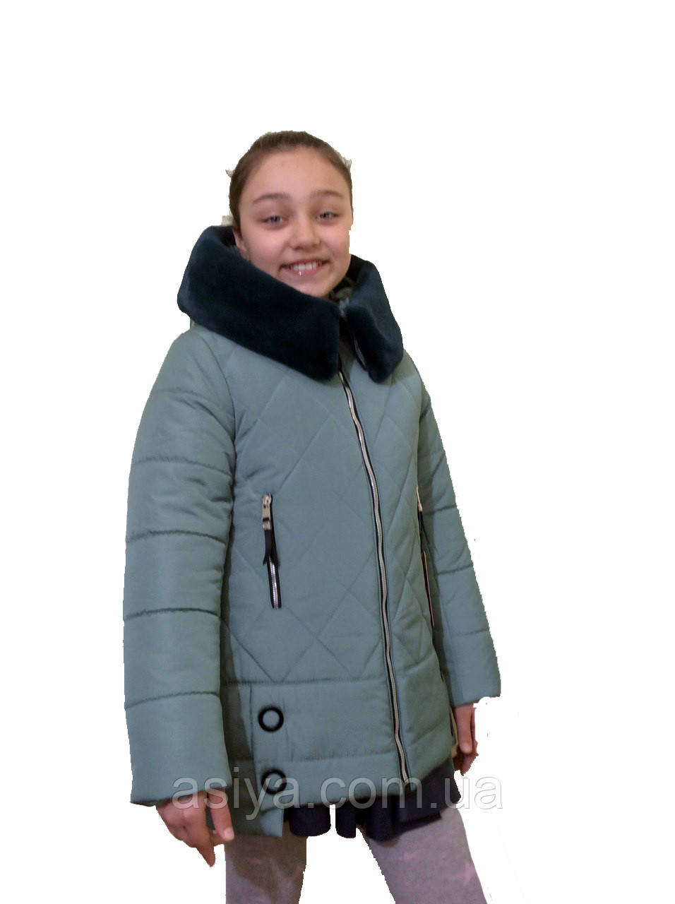 """Зимнее подростковое пальто для девочки """"Ромб"""" мятного цвета от asiya.com.ua"""