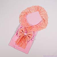 Конверт одеяло пеленка кружевная с бантом Нежно розовая, 78х85см