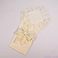 Пеленка конверт для новорожденных на выписку кружевная с бантом, Молочная, 78х85см