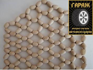 Деревянная накидка на сидение белые,воск,крупное плетенье (2шт)