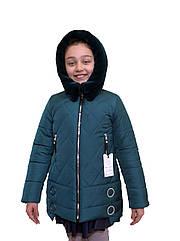 """Зимовий підліткове пальто для дівчинки """"Ромб"""" зеленого кольору від asiya.com.ua"""
