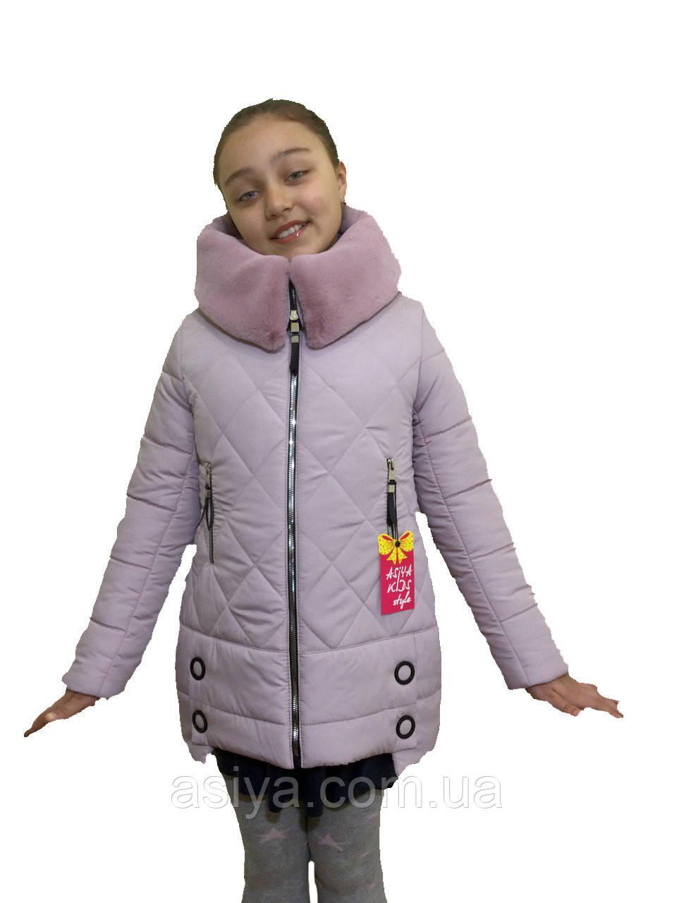"""Зимовий підліткове пальто для дівчинки """"Ромб"""" кольору пудри від asiya.com.ua"""