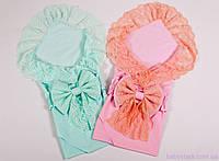 Пеленки конверты для новорожденных близняшек кружевные с бантом