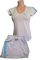 Костюм летний трикотажный. Футболка и юбка. Серый\бирюза