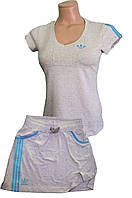 Костюм летний трикотажный. Футболка и юбка. Серый\бирюза. .Мод. 820\4042., фото 1