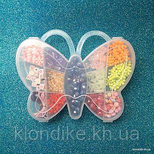 """Набор бусин """"Бабочка"""" для плетения, 10×15 см, в наборе 12 видов бусин и резинка"""