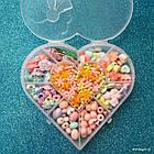 """Набор бусин """"Сердце"""" для плетения, 14×15.5 см, в наборе 8 видов бусин и резинка, фото 2"""
