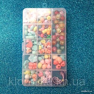 """Набор бусин """"Прямоугольный"""" для плетения, 17×10 см, в наборе 11 видов бусин и резинка"""