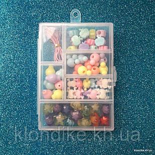 """Набор бусин """"Прямоугольный"""" для плетения, 8×1.5 см, в наборе 5 видов бусин и резинка"""