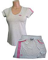 Костюм летний трикотажный. Футболка и юбка. Серый\малина