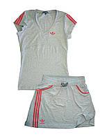 Костюм летний трикотажный. Футболка и юбка. Серый\коралл