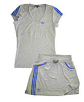Костюм летний трикотажный. Футболка и юбка. Серый\электрик