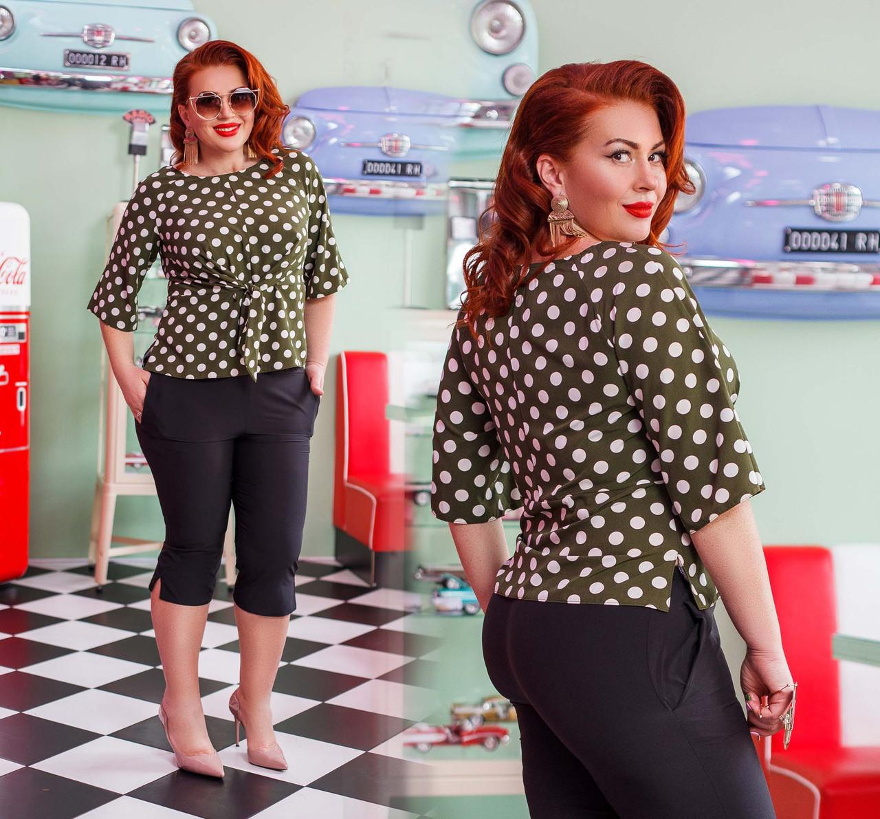 """Стильный женский костюм с бриджами в больших размерах """"Софт Комби Горошек Завязки"""" в расцветках (DG-ак0406)"""