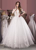 Свадебное платье c белыми 3Д цветами