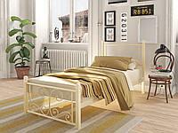Кровать односпальная металлическая Нарцисс Мини на деревянных ногах Tenero. Ліжко односпальне металеве