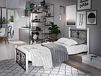 Кровать односпальная металлическая Крокус Мини на деревянных ногах Tenero. Ліжко односпальне металеве