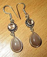 Серебряные серьги с солнечным камнем   от студии LadyStyle.Biz