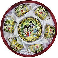 """Сервиз круглый фарфор (6SCS86) 6 чашек+ 6 блюдец """"Зеленая ива"""" (10шт.в ящ.)"""