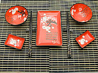 """Сервиз для суши """"Красный с цветами сакуры"""" (2 персоны)(39,5х27,5х5,5 см)(51242-2)"""
