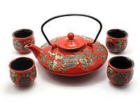 Сервиз керамический (чайник ,4 чашки)(35х20,5х6,5 см)(S04)