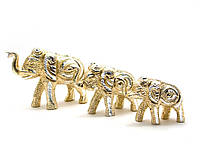 Слоны резные алюминий (н-р 3 шт) (11,5х7,5см8х6см8х5,5см)(Elephant Set of 3ps small)