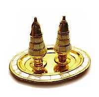 Солонка ,перечница  бронза c перламутром (19х14х11,5 см)(Salt & Peper set 2 Ps MOP )