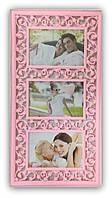 Рамка коллаж на 3 фото розовая