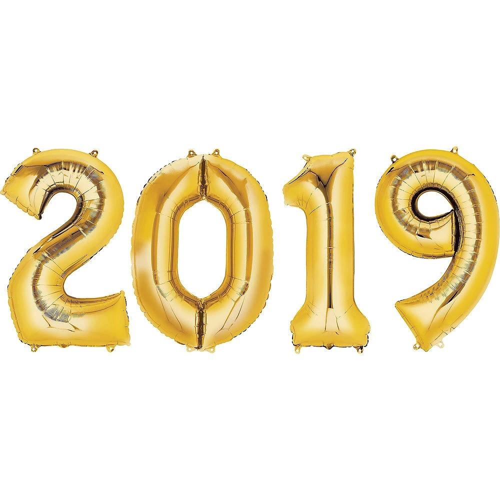 Набор золотых шаров цифр 2019, 1 м