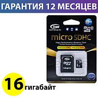 Карта памяти micro SD 16 Гб класс 10 Team, SD адаптер (TUSDH16GCL1003), память для телефона микро сд