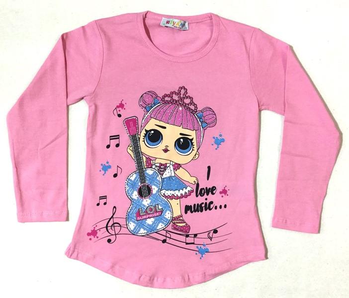 Туника Я люблю музыку(Куколки Лол) розовая на  3-6 лет