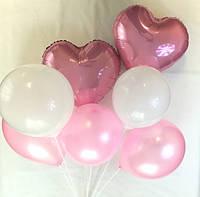 Композиция из 7 шаров с розовыми сердцами