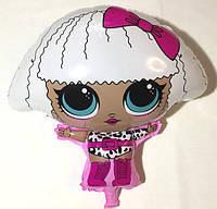 Шар фольгированный  Куколка ЛОЛ с белыми волосами