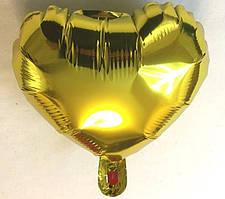 Фольгированный шар в форме сердца золотой 10″